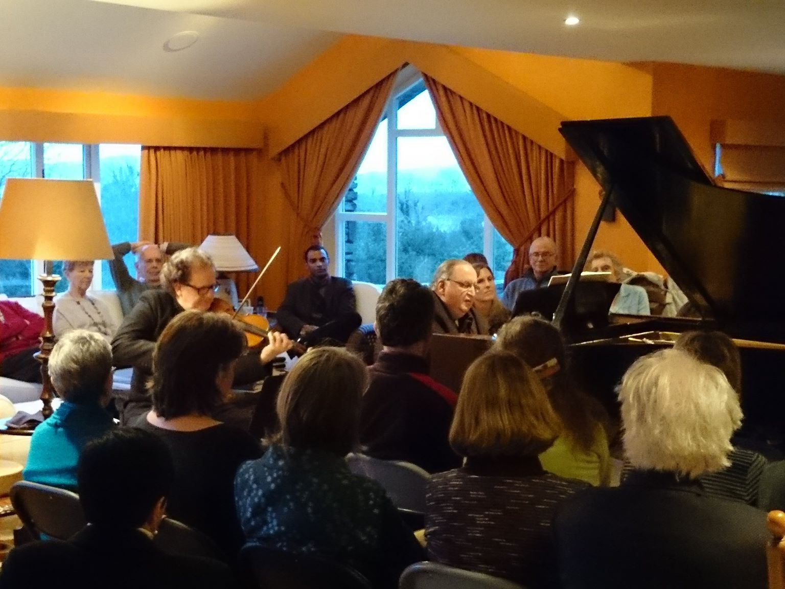 living room concerts. David with guest artist Keith Pascoe of Vanbrugh Quartet Syme Piano  West Cork Living Room Concerts